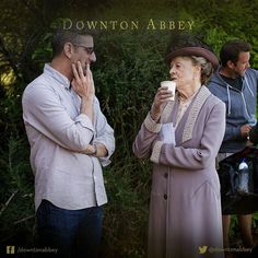 A paper cup, Lady Violet? Surely not. #Downton #DowntonAbbey #BehindTheScenes #TheFinalSeries