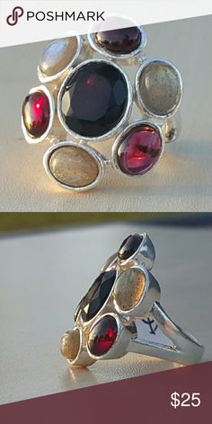 Amethyst, labradorite and garnet ring Set in 925 sterling silver size 8 Robin's Nest Jewels  Jewelry Rings