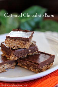 Yummy Oatmeal chocolate bars. #healthy #raw # easy  Grain Crazy
