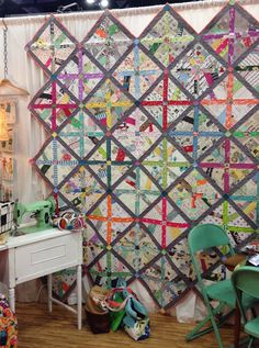 """Sew Demented - Sew Vintage - Quilt Pattern. 12.5"""" background square that is randomly pieced; a super fun scrap buster! Semi improv; must try!"""