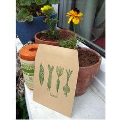 Linocut seed envelope