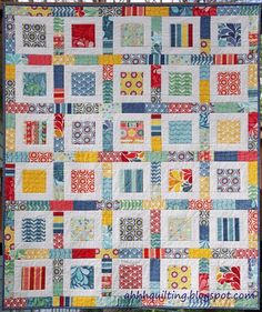"""Name: 'Quilting : Salt Air Charm Quilt Pattern Sizing / Finished Measurements:  50"""" x 60"""" Materials:  3 charm packs or 105 charm squares (5"""") 1 & 1/8 yards white solid 3 yards backing fabric 1/2 yard binding fabric You Will Also Need:  Twin size batting"""