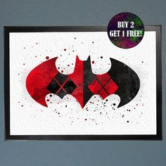 Harley Quinn and Batman Watercolor Fine Art by WatercolorFontaine
