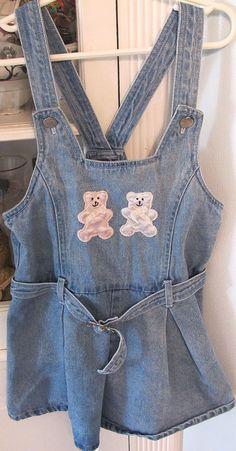 Teddy Bear Shortalls Girls 5 by lishyloo on Etsy, $9.00