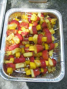 The Giggling Chef: Grilled Rum Soaked Fruit Skewers
