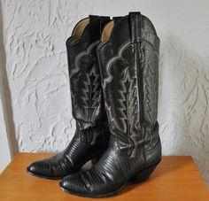 Panhandle Slim Womens Size Black 6 1/2 B Lizard Cowboy Cowgirl Western Boots  #PanhandleSlim #CowboyWestern