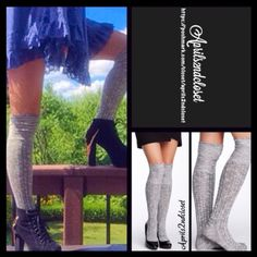 Tall Over The Knee Thigh High Boot Socks Tall Over The Knee Thigh High Boot Socks    * Super soft knit fabric w/Allover texture detail.  * Over the knee length w/ribbed cuffs  * Stretch-to-fit style; Tagged one size fits most   * Tall & over the knee style.  Fabric: 56% Cotton, 43% Polyester, 1% Spandex  Color: Black Combo (charcoal/Heather grey)   No Trades ✅ Bundle Discount Boutique Accessories Hosiery & Socks