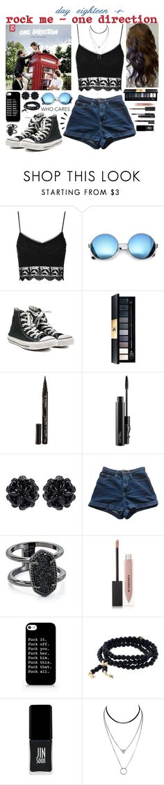 """""""day eighteen, rock me by one direction"""" by roxouu ❤ liked on Polyvore featuring Topshop, Revo, Converse, Yves Saint Laurent, Smith & Cult, MAC Cosmetics, Simone Rocha, American Apparel, Kendra Scott and Burberry"""