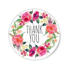 Peonies Flower Wreath Pink Shades Classic Round Sticker - diy cyo customize create your own personalize Thank You Messages Gratitude, Thank You Wishes, Thank You Cards, Diy Stickers, Round Stickers, Happy Wedding Anniversary Cards, Thank You Typography, Teacher Appreciation Cards, Thank You Images