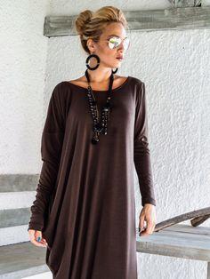 Marrón de manga larga Maxi vestido marrón Kaftan / asimétrica