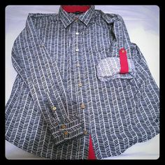 Nautica Women's Button Shirt Red, white and blue with gold buttons. Long sleeve or roll them up! THIS IS A WOMEN'S DRESS SHIRT. Size Large. Nautica Tops Button Down Shirts