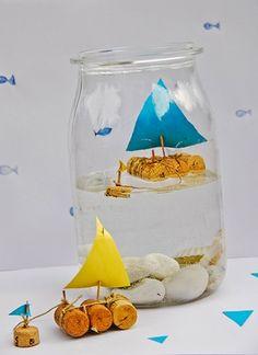 Handmade Charlotte cork sailboat in a jar kids craft
