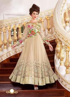Attractive Cream Georgette & Super Net Gowns Online ,Indian Dresses