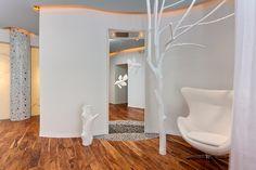 atlanta dental office. natural elements, warm floors.