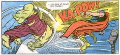 THOR battles HULK:  The Mighty Thor in Journey Into Mystery #112 by Jack Kirby The Best Comic Book Panels