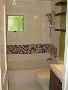 Fancy Bathroom Tile Border Application for Different Usage : Usual Door Model Facing Small Window Above Interesting Bathroom Tile Border Closed Low Bathtub Beside Closet Under Triple Shelf Near Nice Vanity Model