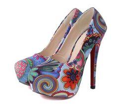 zapatos plataforma stiletto floreados moda 2014