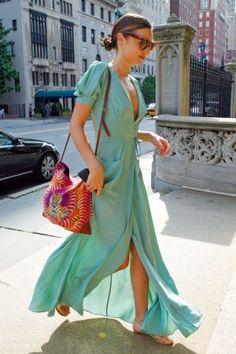 Miranda Kerr Summer Dress Wrap Dress Dress Skirt Robes Fluides Chic