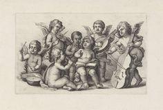 Musicerende cherubijnen, Wenceslaus Hollar, Pieter van Avont, 1646