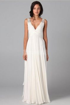 A-line Chiffon V-neck Empire Beading Wedding Dress