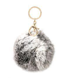 a15e2fe8730 grey puff ball keychain - Google Search Fur Keychain, Lanyard Keychain,  Fendi Fur,