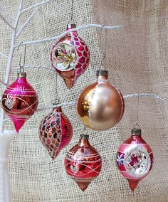 Vintage hot pink glass ornaments  mixed by TrellisLaneVintage, $29.50