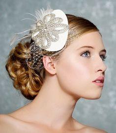 Ivory Braut Hut Crystal Hochzeit Fascinator Mini von GildedShadows