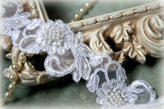 Tresors blanc nacre et perles Alençon Trim perlé par TresorsdeLuxe Nacre,  Voile, Blanc, 4a72dc3d4a0