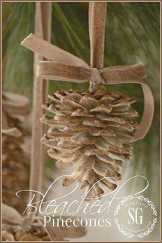 pinhas dar uma olhada branqueada bonito, decorações de natal, artesanato, decoração do feriado sazonal