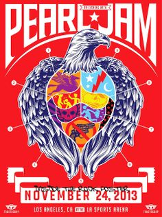 Pearl Jam - Poster - - Los Angeles - second night - Art by Trusto Corp - Lightning Bolt Tour 2013 Tour Posters, Band Posters, Festival Posters, Concert Posters, Movie Posters, Rock Roll, Pearl Jam Tickets, Pearl Jam Posters, Vintage Music Posters
