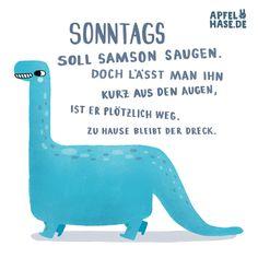 Apfelhase Illustrations Sonntags soll Samson saugen Dino, dinosaurier, illustration, apfelhase, wortwitz, saugen, sonntag