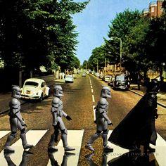 Imágenes famosas recreadas con personajes de Stars Wars   Abbey Road by egerbver, via Flickr