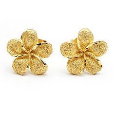 Hawaiian Jewelry Plumeria Flower Stud Earrings Solid 14K Yellow Gold