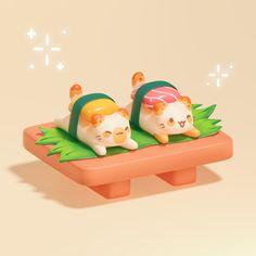 ArtStation - Cat Sushi , Daria Chernysheva Digital Collage, Collage Art, Digital Art, 3d Things, 3d Cartoon, Rubber Duck, 3d Design, Pixel Art, Sushi