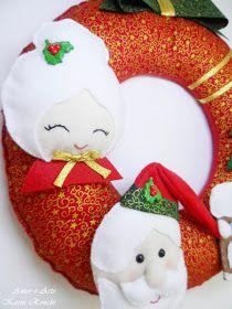 Guirlanda de Natal, em feltro e tecido - Papai e Mamãe Noel