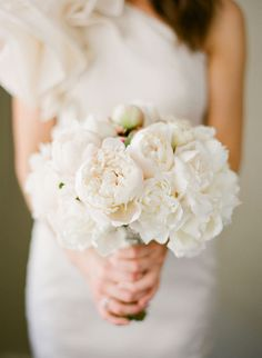 an all-white peony bouquet.