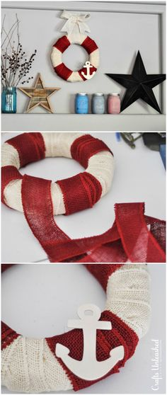 It only takes about 5 minutes and a few supplies to make your own nautical inspired DIY burlap wreath! It fits in so well with any summer decor and is easy!