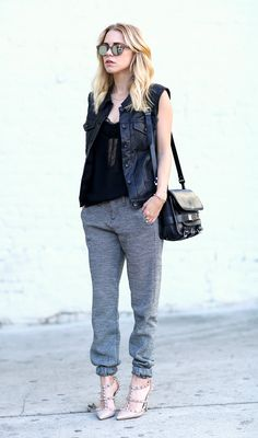 Rag & Bone vest and pants, Valentino shoes, Proenza Schouler bag
