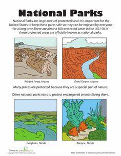 Worksheets: U.S. National Parks roosevelt