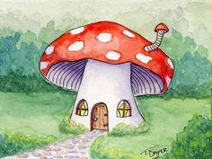 SciFi and Fantasy Art Fairy Mushroom house by Tamara Dozier Withers Mushroom Paint, Mushroom Drawing, Mushroom House, Pretty Art, Cute Art, Guache, Fairy Art, Cute Drawings, Painting Inspiration