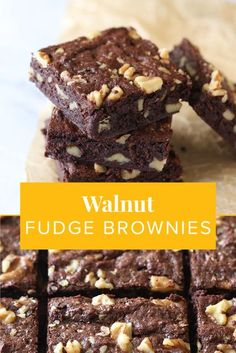 Everyone loves brownies, but there Walnut Fudge Brownies are packed with the hidden bonus of extra nutrition from the addition of California Walnuts. Now, you can enjoy your decadent dessert and fuel your body! Brownie Recipes, Candy Recipes, Sweet Recipes, Baking Recipes, Cookie Recipes, Brownie Ideas, Baking Ideas, Easy Desserts, Delicious Desserts