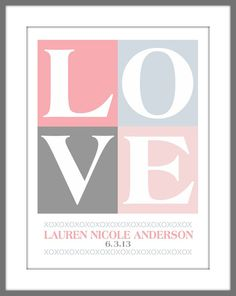 Personalized Name and Date Baby Nursery LOVE by DoodleGraphics