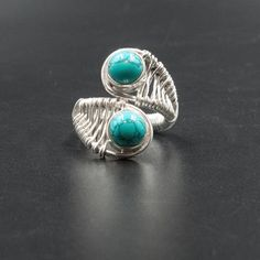 Blue Turquoise Sterling Silver Large Ring, Handmade Big Howlite Gemstone Twist Band Statement Ring