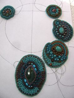 Beading Arts: Bead Journal Project: February 2014. Cyndi Lavin is making a gorgeous statement necklace using beadweaving stitches she adapted to bead embroidery in her book Bored By Backstitch.