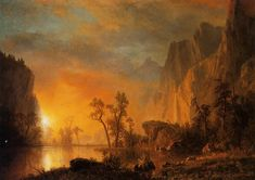 Albert Bierstadt - WikiArt.org Sunset in the Rockies.