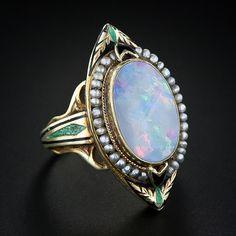 c16ab130a 1920's opal ring Black Opal Jewelry, Pearl Jewelry, Snake Bracelet, Opal  Rings,