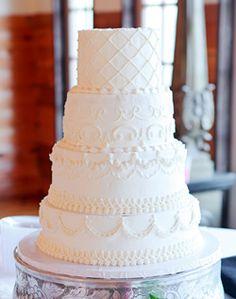 Classic white wedding cake.