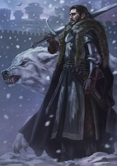 Jon Snow and Ghost from HBO Game of Thrones, digital art by artist Fadly Romdhani Arte Game Of Thrones, Game Of Thrones Artwork, Game Of Thrones Fans, Game Of Thrones Wolves, Winter Is Here, Winter Is Coming, Jon Schnee, John Snow, Vampires