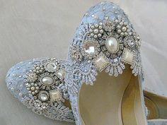 Low Heel Wedding Shoes .. Something Blue by everlastinglifashion