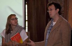 Brian and Emily presenting at second screening of Project Happiness at the Julien Dubuque International Film Festival